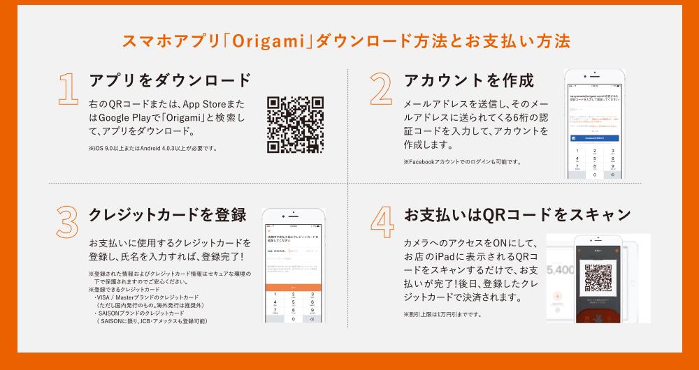 スマホアプリ「Origami」ダウンロード方法とお支払い方法